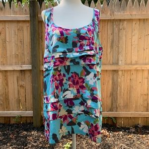 Nicole Miller blue floral tunic